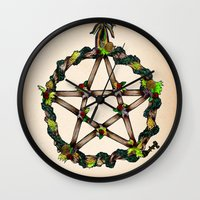 pentagram Wall Clocks featuring PENTAGRAM GARLAND by Dianah B