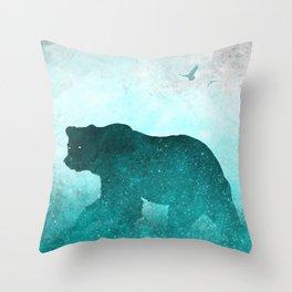 Teal Ghost Bear Throw Pillow