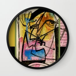 "Funky Face Abstract, ""I See 32"" by Kathy morton Stanion Wall Clock"