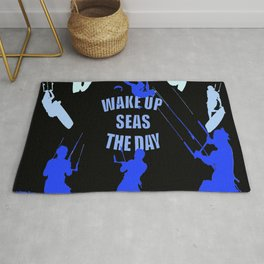 Wake Up Seas The Day Kiteboarder Royal Blue Rug