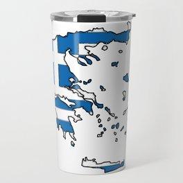 Greece Map with Greek Flag Travel Mug