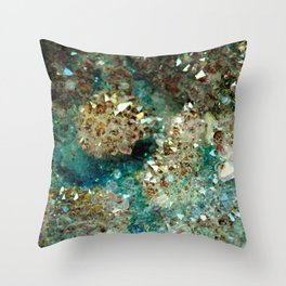 SPARKLING GOLD AND TURQUOISE CRYSTAL Throw Pillow