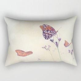 Gulf Fritillary butterflies in a meadow Rectangular Pillow