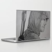 green arrow Laptop & iPad Skins featuring Arrow by Brooke Shane