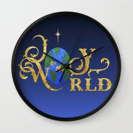 Joy to the World Golden Wall Clock
