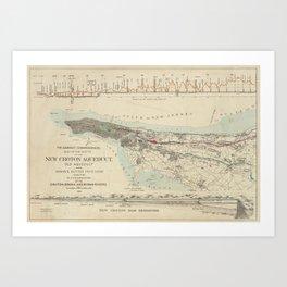 Vintage Map of NYC & The Croton Aqueduct (1899) Art Print
