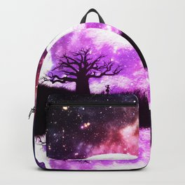 Lone tree over rising pink moon Backpack