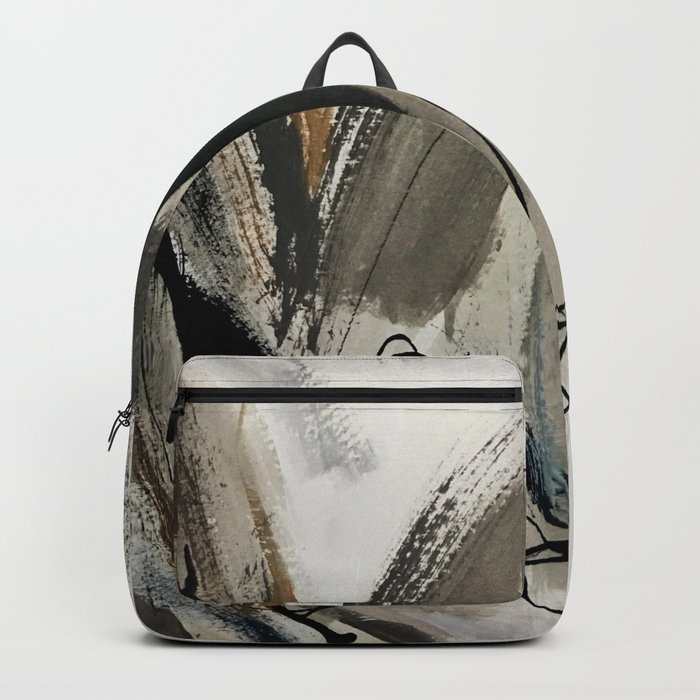 Drift [5]: a neutral abstract mixed media piece in black, white, gray, brown Backpack