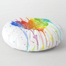 Rainbow Heart Watercolor Floor Pillow