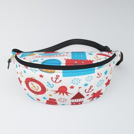pattern with sea icons on white background. Seamless pattern. Red and blue Fanny Pack