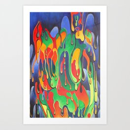 Buxom Nude Woman Splashed With Paint Art Print