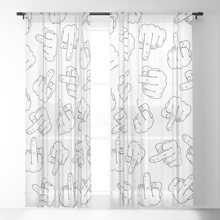 Middle Fingers Pattern 1 Sheer Curtain