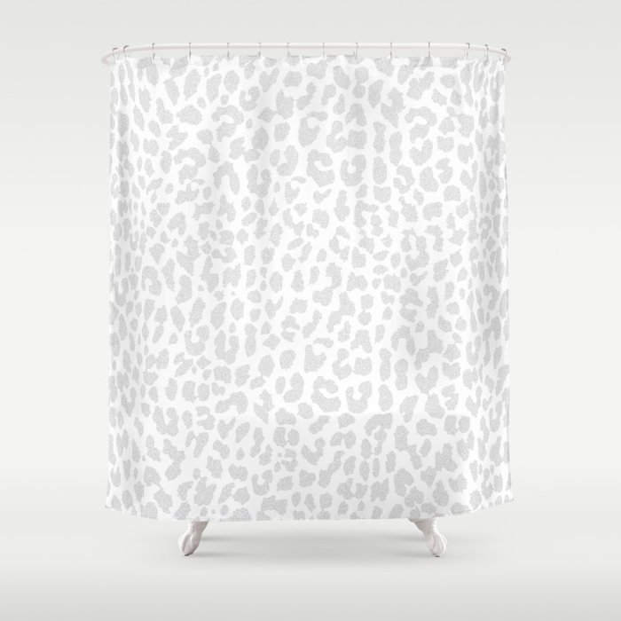 Pale Gray Leopard Shower Curtain
