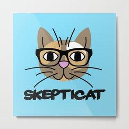 Skepticat Calico Kitty Cat (Blue Background) Metal Print