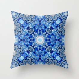 Aqua Crystal Mandala Throw Pillow
