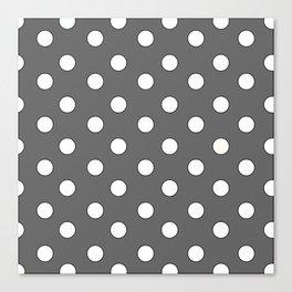 Grey Pastel Polka Dots Canvas Print