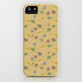 Colorado Aspen Tree Leaves Hand-painted Watercolors in Golden Autumn Shades on Jute Beige iPhone Case