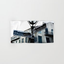 Dumaine and Bourbon - Street Sign in New Orleans French Quarter Hand & Bath Towel
