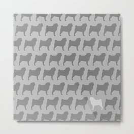 Pug Silhouette(s) Metal Print