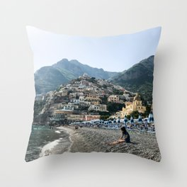 Positano Beach Throw Pillow