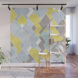 Yellow & Gray Geometric Pattern Wall Mural