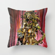 Zombie Ventriloquist Girl Throw Pillow