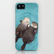 Otterly Romantic - Otters Holding Hands iPhone (5, 5s) Slim Case