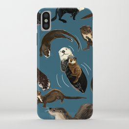 Otters of the World pattern in teal iPhone Case