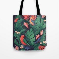 Midnight Bird Jungle Tote Bag