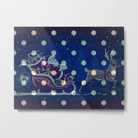 Santa Claus riding his sleigh on a snowy blue Christmas Eve Metal Print