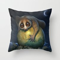 Throw Pillows featuring Loris Planet by Antonio Caparo