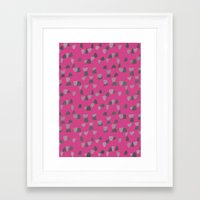 gray pattern Framed Art Prints featuring Pink & Gray pattern by Georgiana Paraschiv