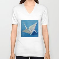 crane V-neck T-shirts featuring Origami Crane by Michael Creese