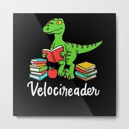 Velocireader Books Dino Raptor Gift Design Metal Print
