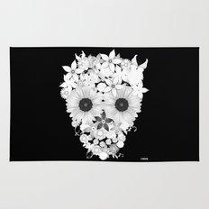 Skull Flowers white Rug