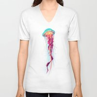 jellyfish V-neck T-shirts featuring Jellyfish by Nikittysan
