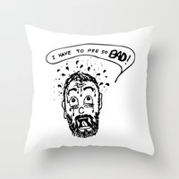 pee wee Throw Pillows featuring Pee by Addison Karl