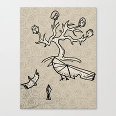 birds and tree monster Canvas Print