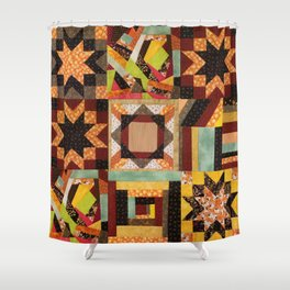 Quilt, Fall Colored Quilt Pattern Shower Curtain