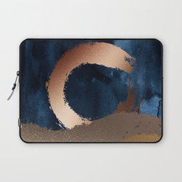 Navy Blue, Gold And Copper Abstract Art Laptop Sleeve