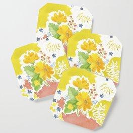 Daisy with Yellowed Green Coaster
