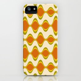 Retro Psychedelic Wavy Pattern in Orange, Yellow, Olive iPhone Case