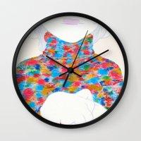 knit Wall Clocks featuring FEBRUARY KNIT by kasi minami