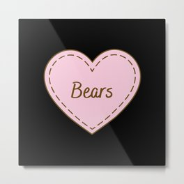 I Love Bears Simple Heart Design Metal Print
