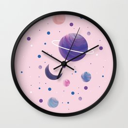 Pink Space Wall Clock