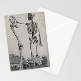 Skeleton standing in a landscape, holding a bone. Engraving, ca. 1750. Stationery Cards