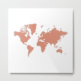 World with no Borders - coral Metal Print