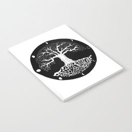black and white tree of life with moon phases and celtic trinity knot Notebook
