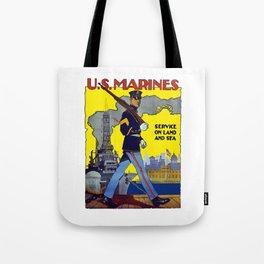 U.S. Marines -- Service On Land And Sea Tote Bag