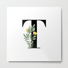 T Floral Letter Initial Metal Print